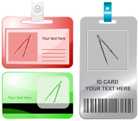 vertical divider: Caliper.  id cards. Illustration