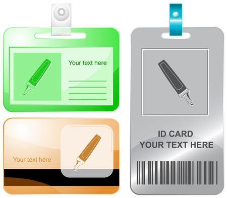 felt: Felt pen.  id cards. Illustration