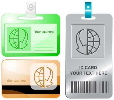 array: Globe and array down. id cards. Illustration