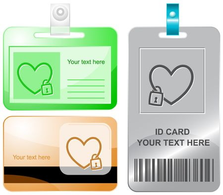 Closed heart.  id cards. Vector