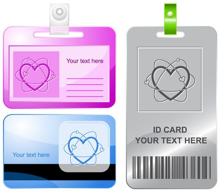 Atomic heart.  id cards. Stock Vector - 6858535