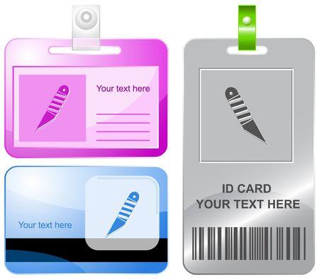 Knife.  id cards. Stock Vector - 6858543