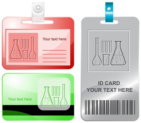 laboratory equipment: Chemical test tubes.  id cards.