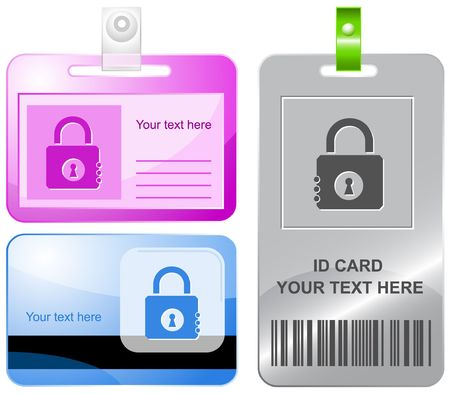 Closed lock. id cards. Vector