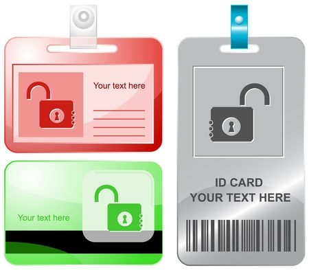 Opened lock.  id cards. Vector