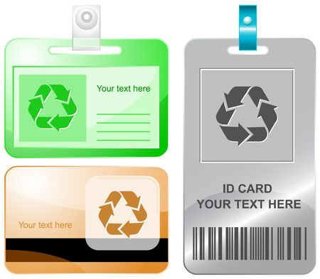 Recycle symbol id cards. Stock Vector - 6857523