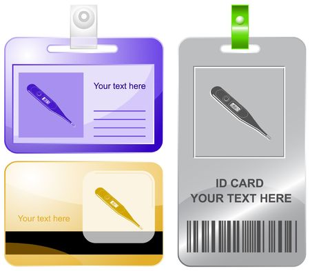 celsius: Thermometer. Shows 36.6 degrees Celsius.  id cards. Illustration