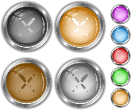 Ink pen and pencil.   internet buttons. Stock Vector - 6863103