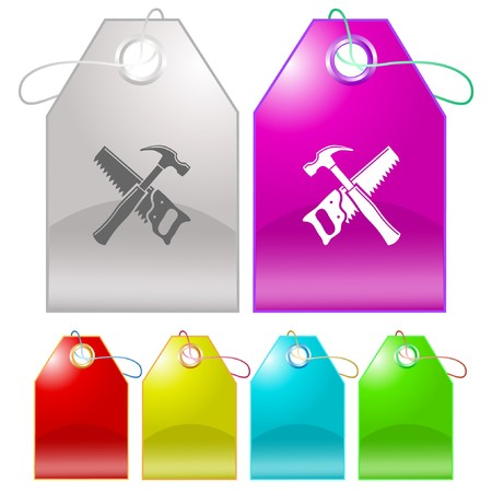 Hand saw and hammer. tags. Stock Vector - 6862562