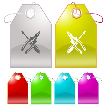 pinchers: Screwdriver and combination pliers.  tags. Illustration