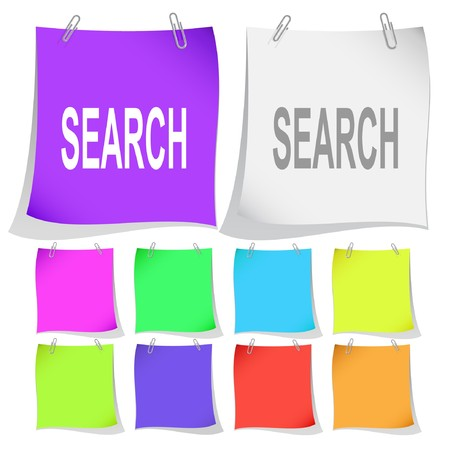 Search.  note papers. Stock Vector - 6862848