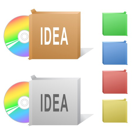 Idea. Box with compact disc. Stock Vector - 6862476