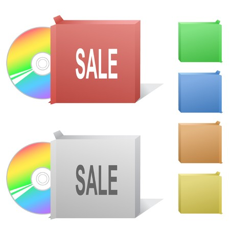 Sale. Box with compact disc. Stock Vector - 6862475