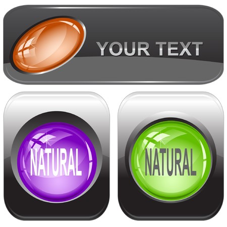 Natural.  internet buttons. Vector