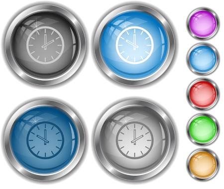 Clock.  internet buttons. Vector