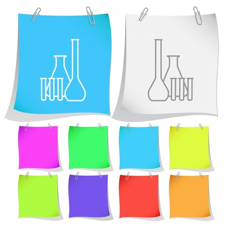 Chemical test tubes. note papers. Stock Vector - 6986144