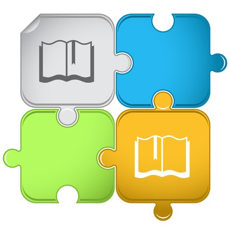 open book icon: Book.  puzzle.