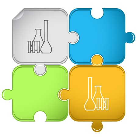 Chemical test tubes puzzle. Vector
