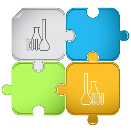 Chemische proef buizen puzzel.  Vector Illustratie
