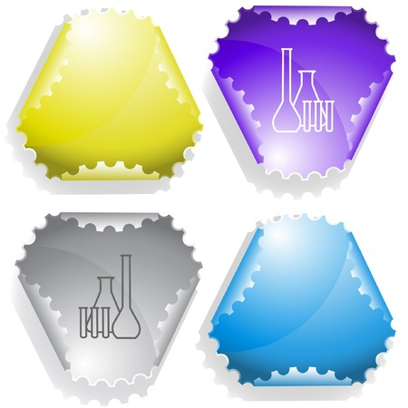 Chemical test tubes. sticker. Stock Vector - 6986175