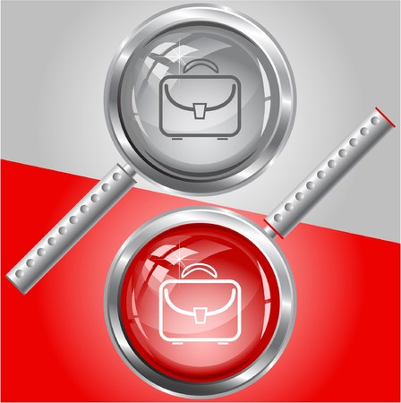 Briefcase.  magnifying glass. Vector