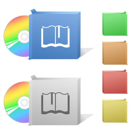 Book. Box with compact disc. Stock Vector - 6986237