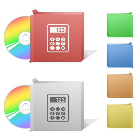 Calculator. Box with compact disc. Stock Vector - 6986099