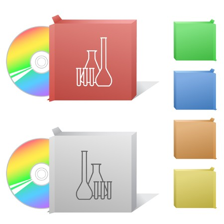 Chemical test tubes. Box with compact disc. Vector
