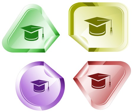 web cap: Graduation cap.  sticker.
