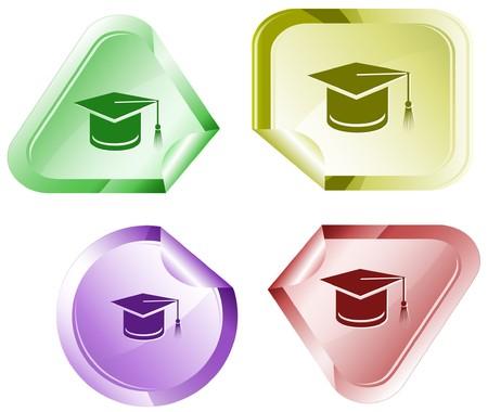 successful student: Tappo di graduazione.  vignetta.