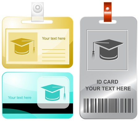 Graduation cap.  id cards. Vector