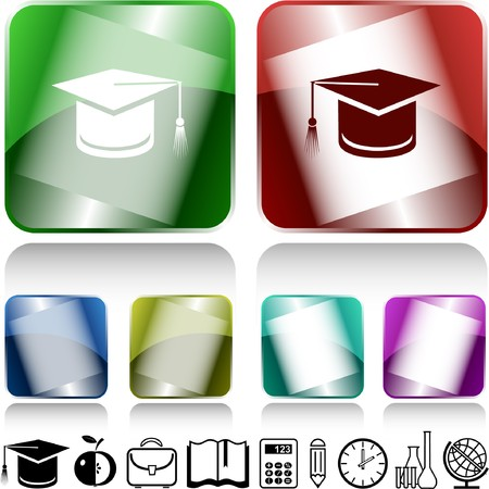 Graduation cap. internet buttons. Stock Vector - 6986055