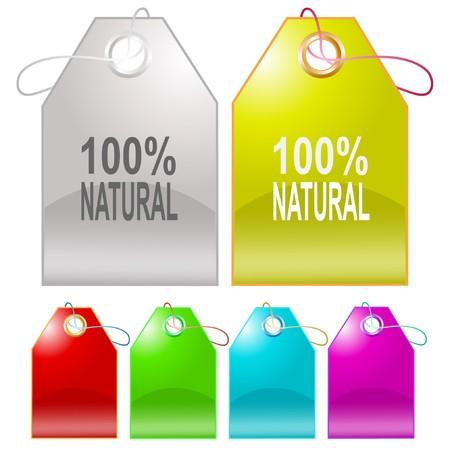 100% natural tags. Stock Vector - 7176348