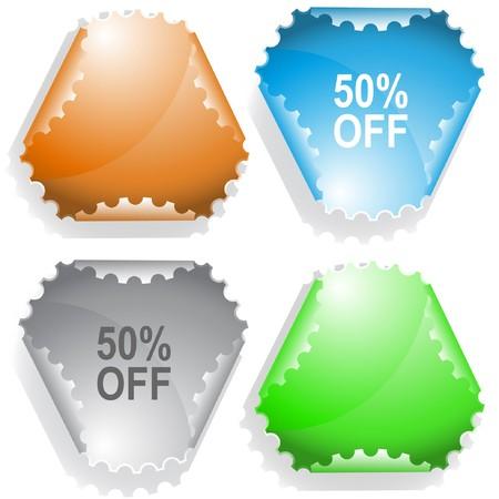 declinate: 50% OFF sticker. Illustration