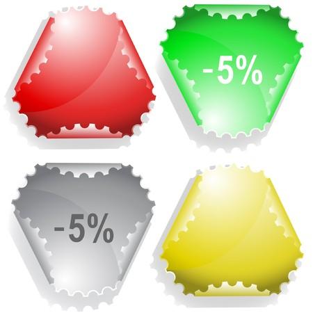 declinate: -5% sticker. Illustration