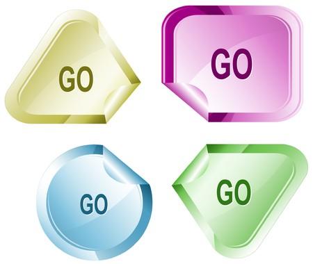declinate: Go. sticker. Illustration