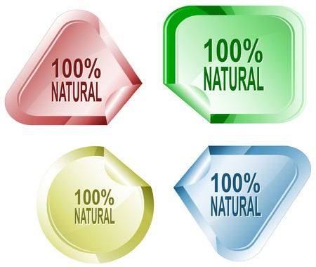 100% natural sticker. Vector
