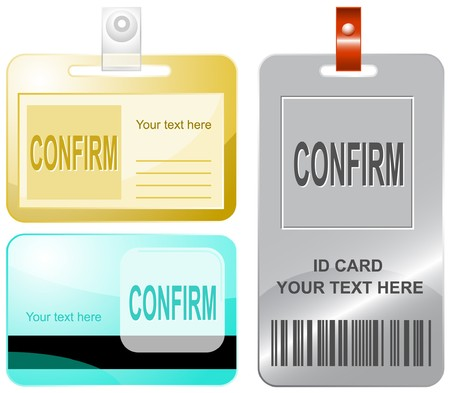 validation: Confirm. id cards. Illustration