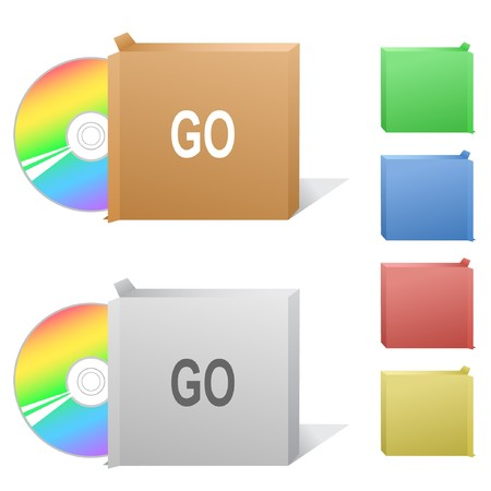 compact disc: Go. Box with compact disc. Illustration