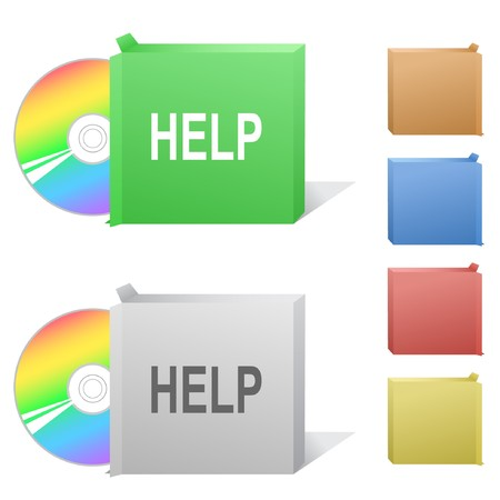 Help. Box with compact disc. Stock Vector - 7176178