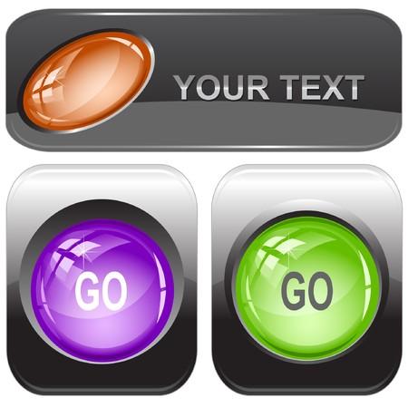 Go internet buttons. Stock Vector - 7176431