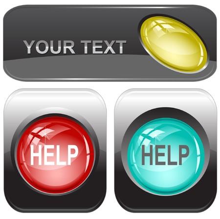 Help internet buttons. Stock Vector - 7176534