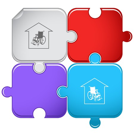 haushaltshilfe: Pflegeheim. Puzzle.