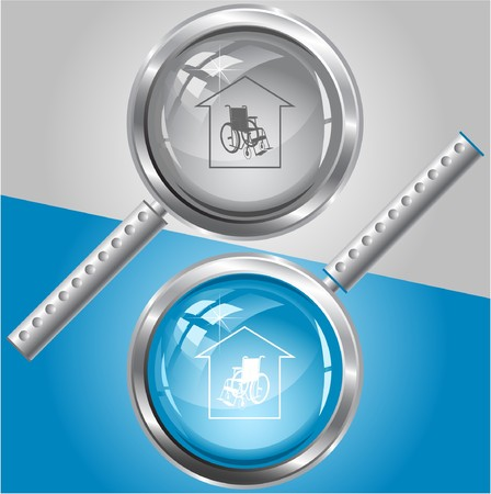 Nursing home. magnifying glass. Vector