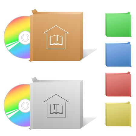 compact disc: Library. Box with compact disc.