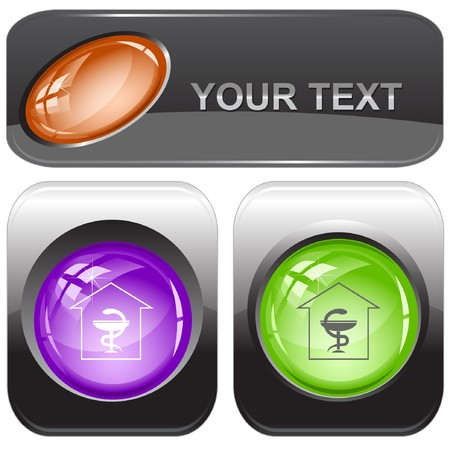 Pharmacy internet buttons. Vector
