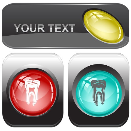 Tooth internet buttons. Stock Vector - 7176725