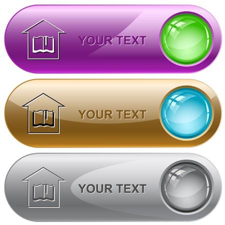 school website: Library internet buttons. Illustration