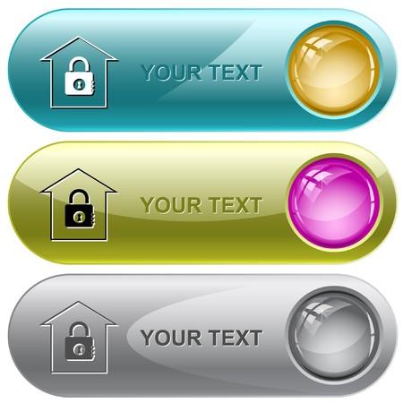 icono candado: Banco. botones de Internet.  Vectores