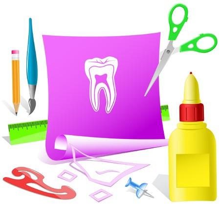 glue: Zahn. Vektor-Papier-Vorlage.
